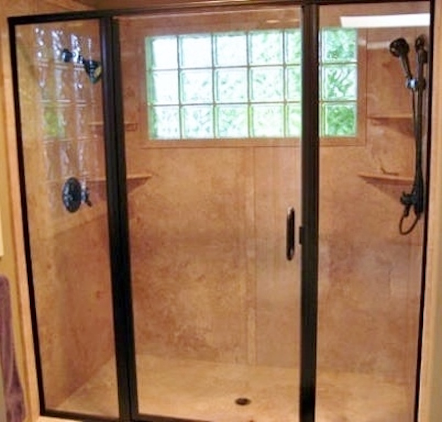 cultured stone shower with shelves