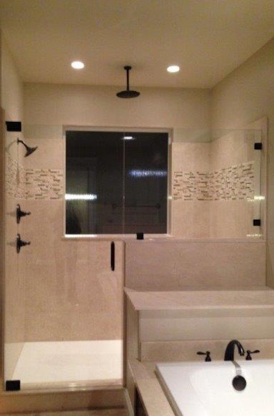 cultured stone shower with accent