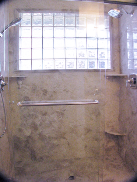 cultured stone shower with glass block