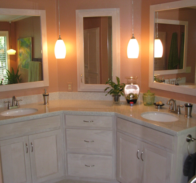 cultured stone vanity with undermount sinks