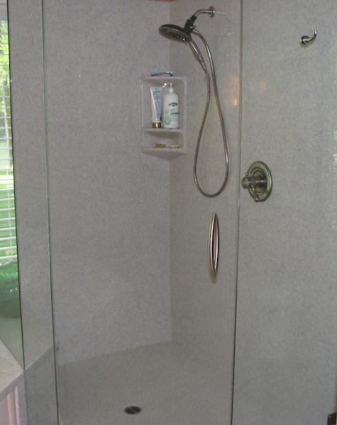cultured marble shower with glass