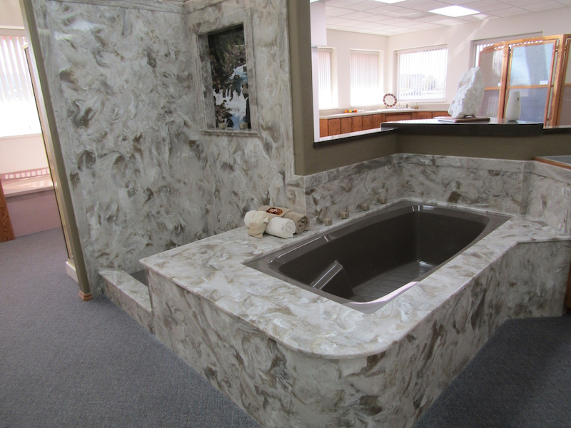 cultured stone tub and shower combo