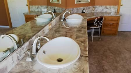Trim and design options with cultured marble, cultured granite, or cultured onyx