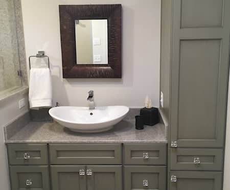 Vanity installed with cultured granite