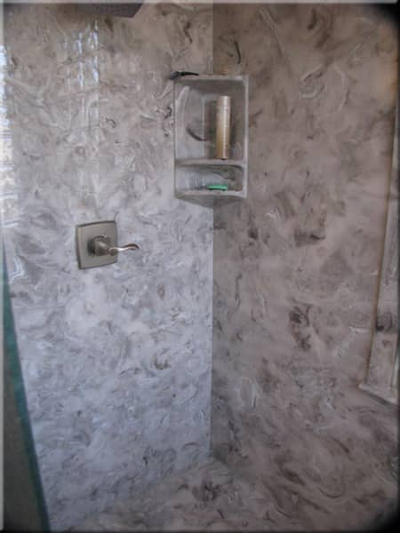 cultured marble shower inside
